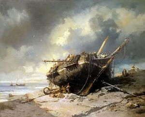 oil painting charles hoguet - dismantling