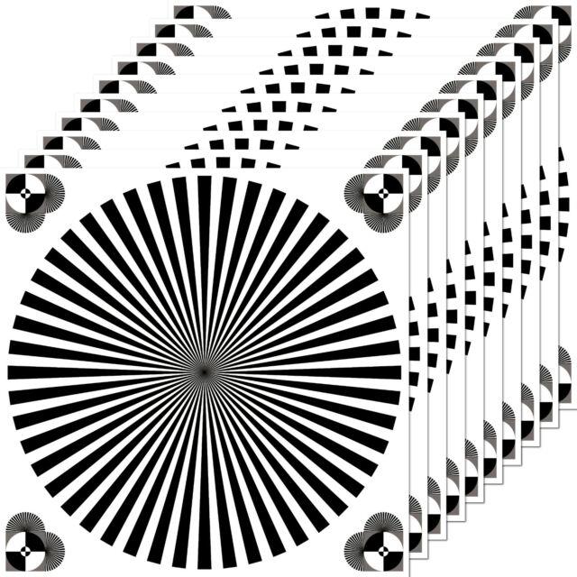 10 Sticker 3 7/8in Siemens Star Gray Card Focus DSLR Test