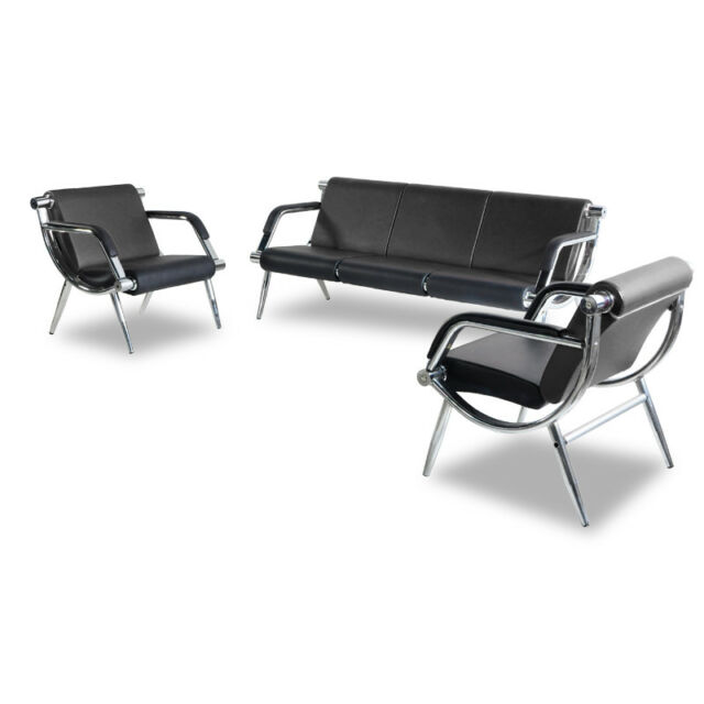 black leather reception chairs walmart camp airport office chair 3 seat visitor guest waiting room 3pcs set bench w pu