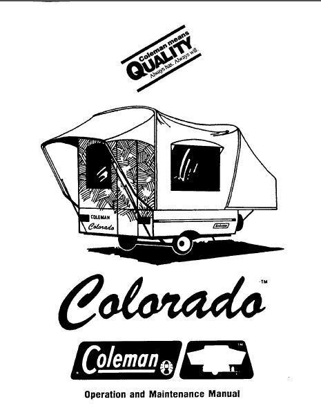 COLEMAN Popup Trailer Owners Manual- Colorado 1986 1987