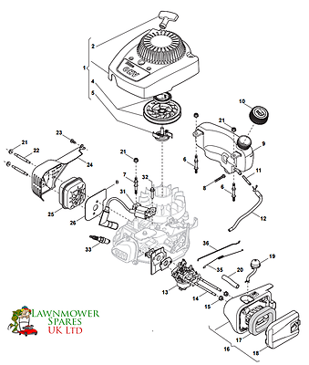 RS100 PETROL LAWNMOWER ENGINE RECOIL AND AIR FILTER PARTS