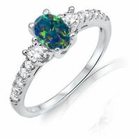 Dark Blue Oval Australian Fire Opal CZ Detail Genuine ...