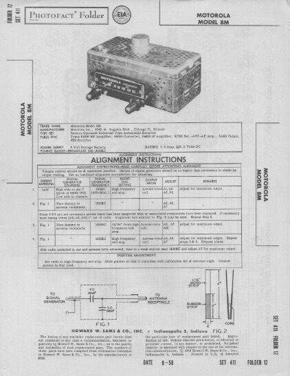 1958 MOTOROLA 8M UNIVERSAL AUTO RADIO SERVICE MANUAL