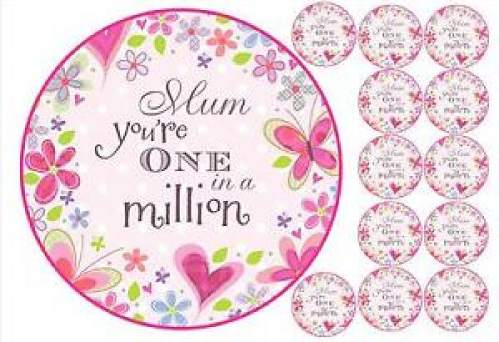 Mothers Day Cake Topper 12 Cupcake Toppers One In A Million Mum