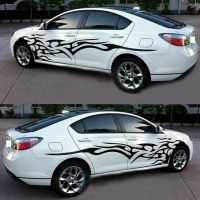 2x Black Flame Logo Car Sticker Graphics Side Door Body ...