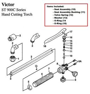 Victor ST900C & ST900FC Cutting Torch Rebuild/Repair Parts