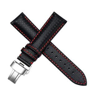details sur 22mm carbon fiber bracelet montre cuir bandeau fait pour tag heuer carrera
