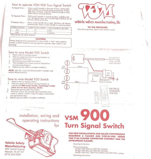 small resolution of one vsm vehicle safety mfg 900 universal heavy duty truck turn signal switch for sale online ebay