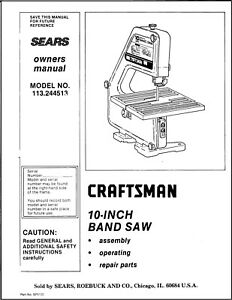 CRAFTSMAN 113.244513 10-Inch Band Saw Owner's Instructions