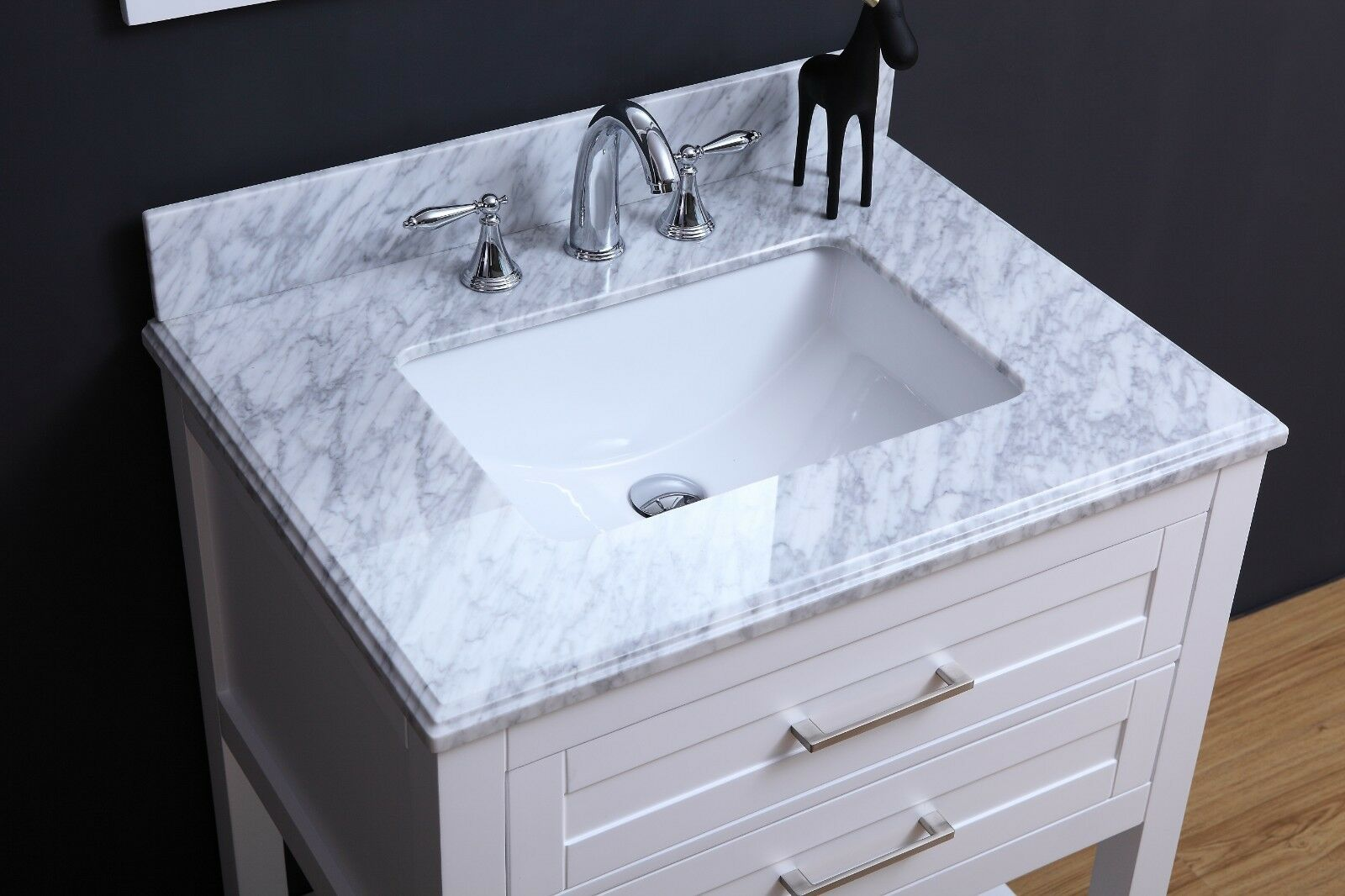 24 Inch Traditional Freestanding White Bathroom Vanity With Marble Top For Sale Online