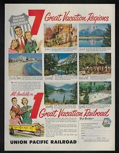 1954 Vintage Print Ad 61 Union Pacific Railroad Vacation Tourism Train Travel Ebay