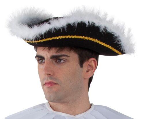 chapeau tricorne noir plumes deguisement marquis pirate noble neuf pas cher kleding en accessoires hoeden hoofddeksels