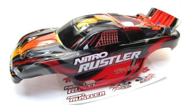 Nitro Rustler - Body Shell Red & Silver Cover Prographix