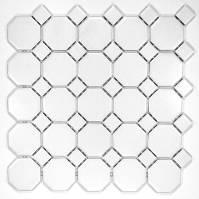 octagon 2 retro porcelain white matte floor mosaic tile 11 5x11 5 box of 10