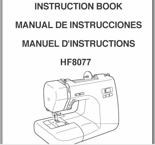 Janome HF 8077 Sewing Machine Instruction Manual Users