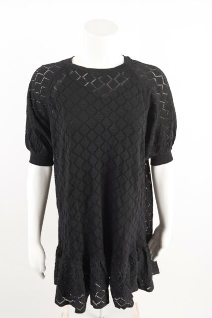 Zara Womens Pointelle Knit Dress S Black Knee Length ...