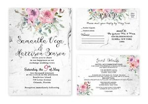 Details About Wedding Invitations Personalized Rustic Invites With Rsvp Cards Set Of 50