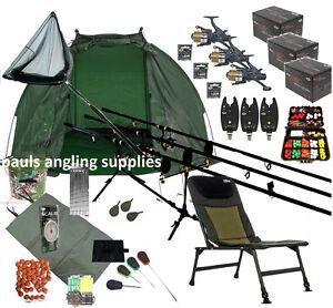 3 Shakespeare Rod Carp Fishing Set Up Kit Reels Chair