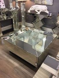 Large Square Illusion Mirrored Coffee Table Silver ...