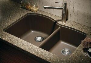 60 40 kitchen sink nooks for sale granite composite compare to blanco espresso ebay la foto se esta cargando granito compuesto fregadero comparar a