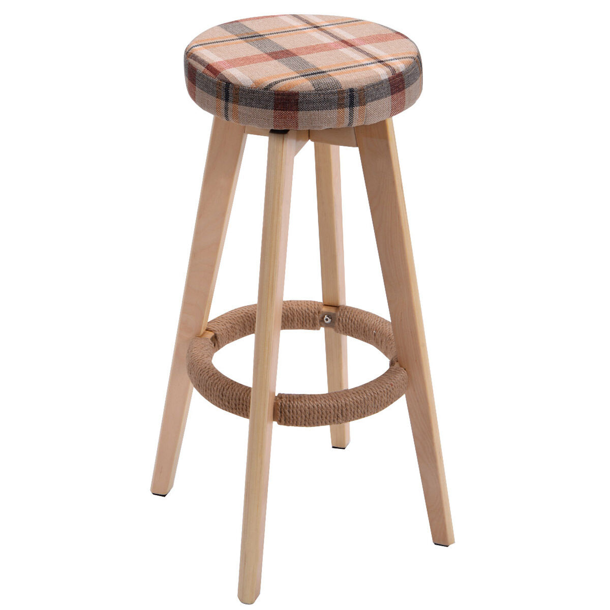 Stool Chair Round Wooden Chair Linen Bar Stool Dining Counter