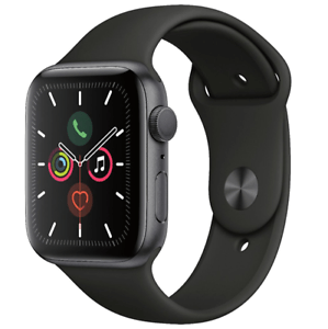 Apple Watch Series 5 44mm Space Gray Aluminum Black Band GPS MWVF2LL/A