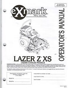 EXMARK LAZER Z XS SERIES OPERATORS MANUAL SN 600,000