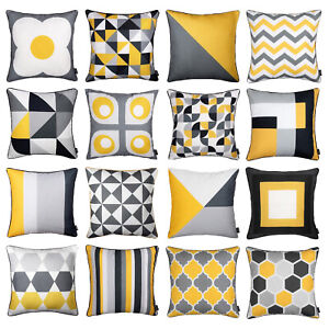 details about modern geometric mustard yellow and grey stylish pillow case sofa cover 45cm 18