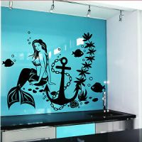Wall Decal Mermaid Fish Anime Girl Stickers Marine Design ...