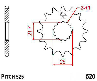Hendler Front Sprocket 17 Teeth (520.17) Triumph Street
