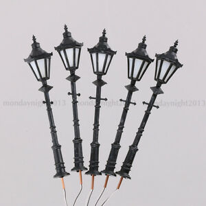 5P 1:25 Scale Model Trains Metal Light Poles Wired LED
