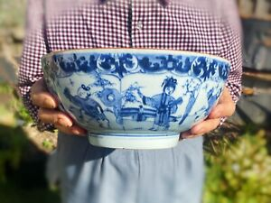 Kangxi Chinese Antique Porcelain Blue And White Huge Bowl Figures 18th Century