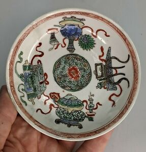 Chinese Antique c18th Porcelain Saucer Dish Famille Verte Precious Object KANGXI