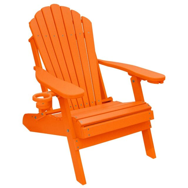 deluxe outer banks poly folding adirondack chair w cup smart phone holder
