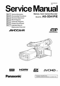 Panasonic AG-3DA1 3D Camcorder Service Manual & Repair