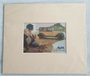 MOUNTED COLOURED AUSTIN MOTOR CARS ADVERT - FOR ROOTES LTD. AUSTIN DISTRIBUTORS