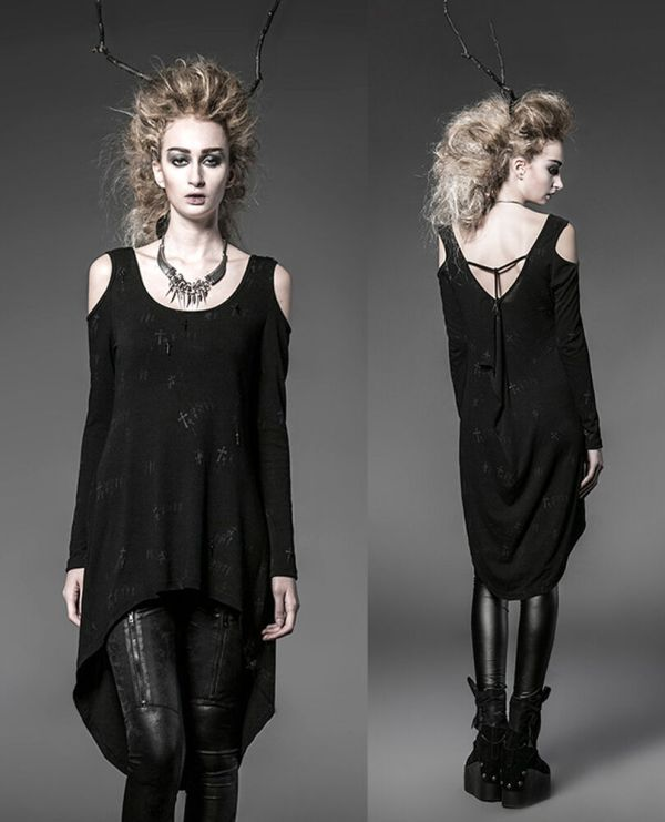 Punk Gothic Rock Black Long Cardigan Tee Shirt Top Visual