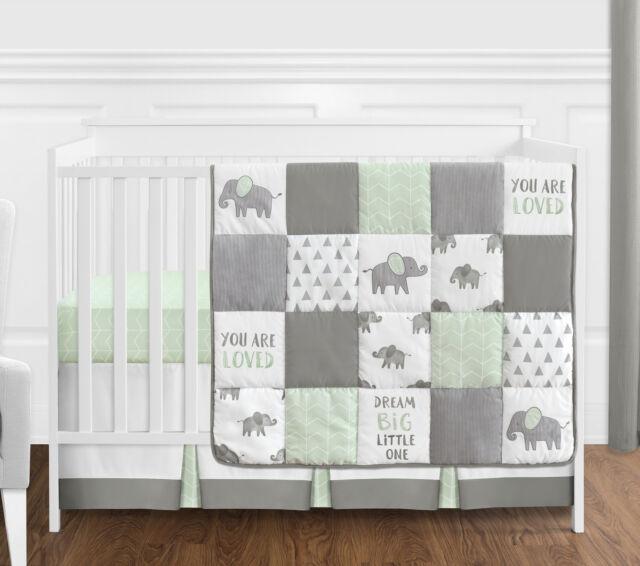 sweet jojo 4p mint grey white watercolor elephant safari baby crib bedding set