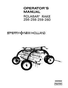 NEW HOLLAND Rolabar Rake 256 258 259 260 OPERATORS MANUAL