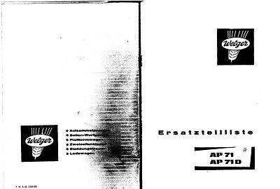 Welger AP71 Baler Parts Manual (PDF file) SPARE PARTS LIST