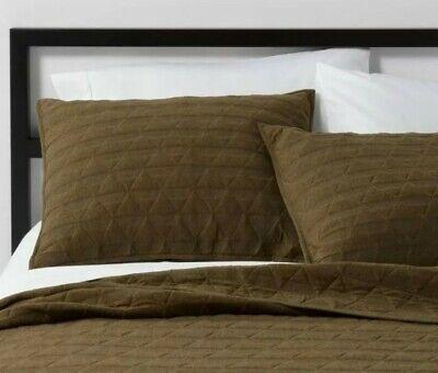 triangle stitched jersey standard pillow sham project 62 nate berkus olive green ebay