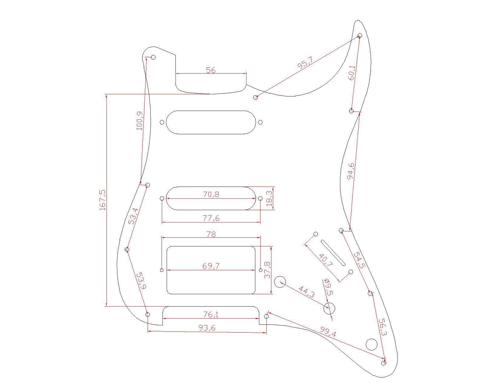 Mirror Pickguard Ssh Pickups 11 Hole For Fender Strat