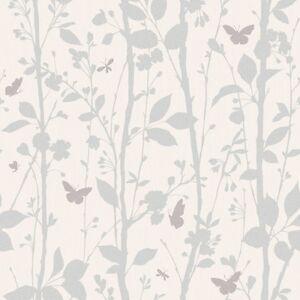 Dazzle White and Silver Glitter Woodland Wallpaper