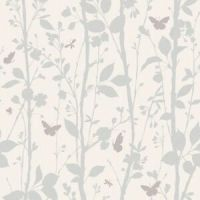 Dazzle White and Silver Glitter Woodland Wallpaper