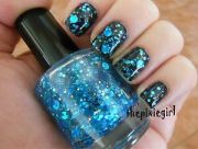 blue circle dot gold holographic