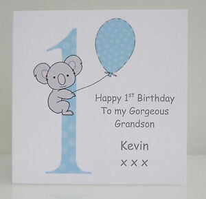 Personalised Boys 1st Birthday Card Son Grandson Nephew