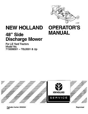 NEW HOLLAND 48`Side Discharge Mower TRACTOR LS25 LS35 LS45
