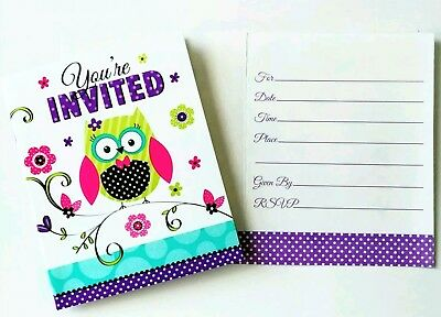 8 Birthday Or Baby Shower Owl Invitations Invites Party Supplies Ebay