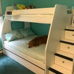 Solid Bunk Bed Twin Over Full In White With Steps For Sale Online