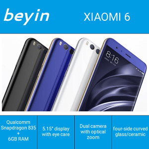 "Xiaomi 6 Mi6 M6 6GB 64GB/128GB 5.15"" Octa Core Snapdragon 835 4G LTE Dual Camera"